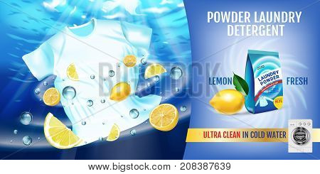 Vector realistic Illustration with t-shirt is washed in water and product package. Horizontal banner