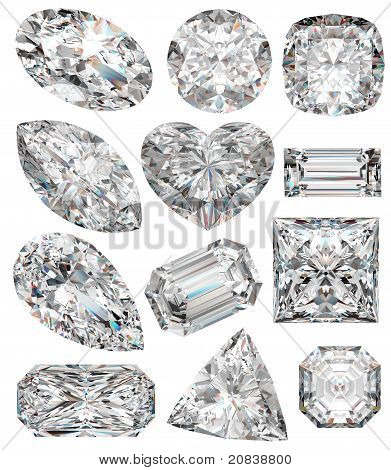 Diamond shapes isolated on white. 3d illustration. poster