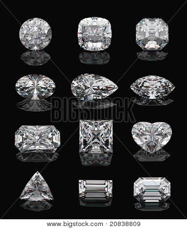Formas de diamantes en negro.