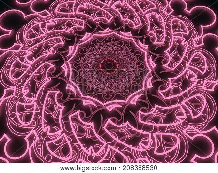 Decorative design element. Geometric ornament with neon shine material. Circular ornamental symbol. Islam, Arabic and Indian, ottoman motifs. 3D rendering