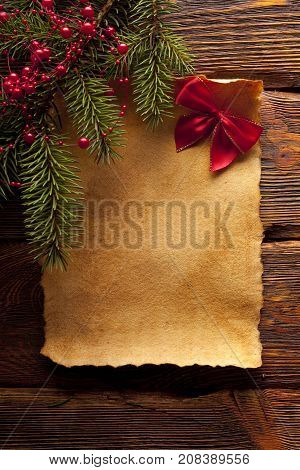 Blank Paper Sheet, Red Bow And Branch Of Spruce Tree