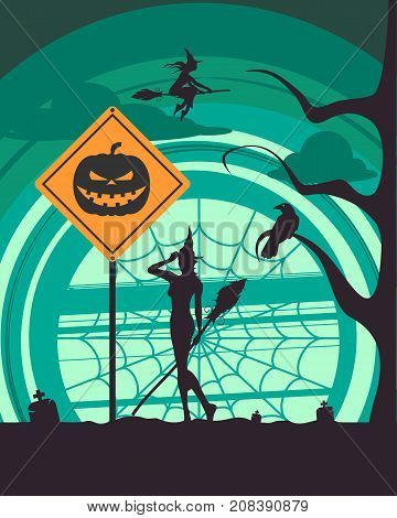 Halloween holiday background. Pumpkin head silhouette on warning yellow road sign. Cemetery view at night. Flying and standing witches with broomsticks