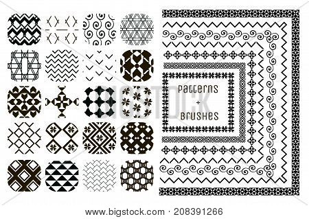 Collection of 20 Black Geometric Seamless Patterns and 7 Flexible, Color, Size and Shape adjustable Pattern Brushes with outer and inner tiles. Vector Illustration. Ornamental Repeating Backgrounds