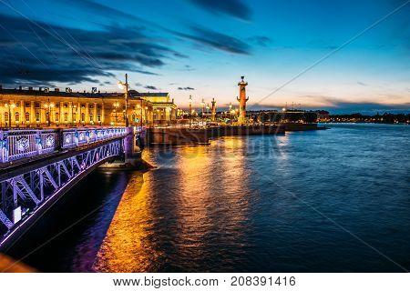 White nights in Saint Petersburg, bridge and Vasilievsky Island, Russia