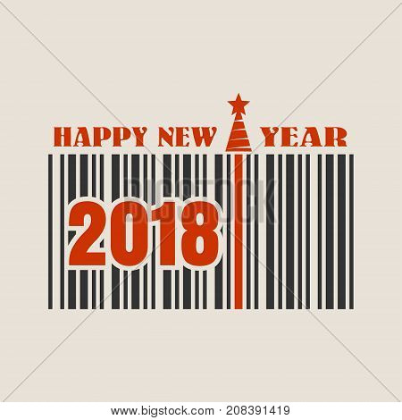 New Year and Christmas celebration card template. Happy New Year text. Bar code with 2018 number. Vector illustration relative to holiday sales