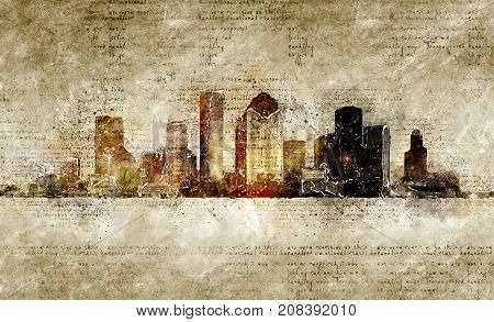 skyline of houston in modern and abstract vintage look artprint