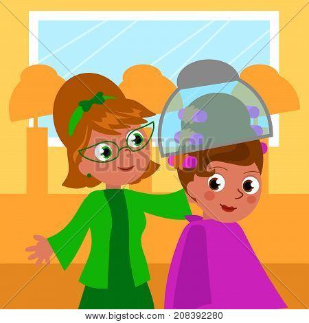 Cartoon 60's hair dresser and woman, vector illustration