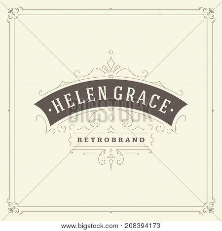 Ornament logo design template vector flourishes calligraphic decorations elegant royal lines. Good for Luxury Crest, boutique brand, wedding shop, hotel sign.