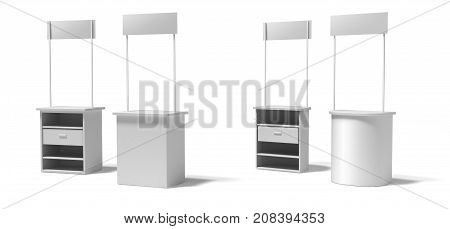 Blank semicircular and rectangle promotion stands on a white and blue background. front and back.3D rendering template BTL below-the-line .