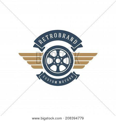 Car wheel logo template vector design element vintage style for label or badge retro illustration. Tire silhouette.