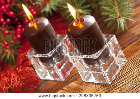 Christmas Background - Candles And Spruce Tree