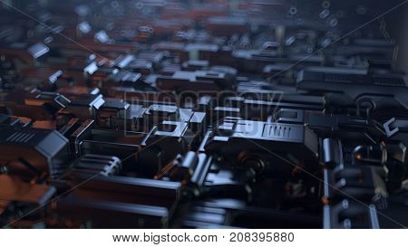 circuit board, abstract background, 3d illustration