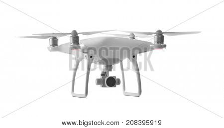 Modern quadcopter on white background
