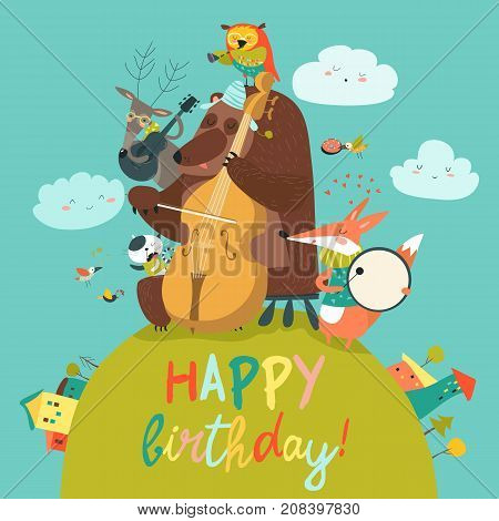 Vector cute Birthday card with animals and music