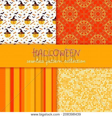 Festive seamless pattern collection. Set of vector Halloween illustration. Stripes, circles, scribble texture, holiday symbols and characters jack o lantern, witch hat, bat, spider, corn candy. Usable for design, packaging, wallpaper, textile, card