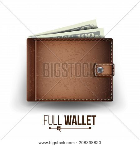 Full Wallet Vector. Brown Color. Dollar Banknotes. Top View. Financial Concept. Isolated On White Background Illustration