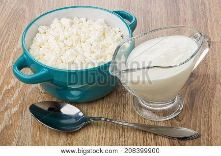 Bowl With Cottage Cheese, Gravy Boat With Yogurt And Spoon