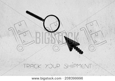 Parcels With Cursor Clicking And Magnifying Glass Analyzing