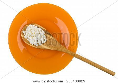 Bamboo Spoon With Cottage Cheese In Plate On White