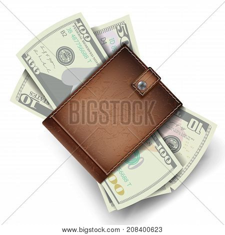 Full Wallet Vector. Brown Color. Full Wallet. Modern Leather Wallet. Dollar Banknotes. Isolated Illustration