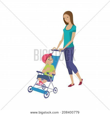 Mother and baby in different lifestyle situations. Happy family. Young beautiful mother walks with a child, spends time together, rolls baby on stroller. Vector illustration isolated in cartoon style.