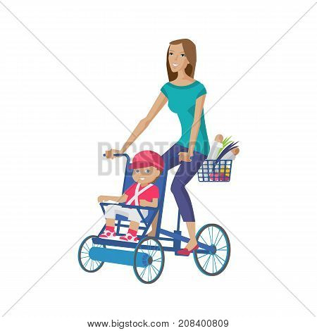 Mother and baby in different lifestyle situations. Happy family. Mother walks with child, spends time together, rolls baby on bicycle, buying home food in store. Illustration in cartoon style.