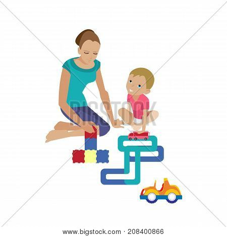 Mother and baby in different lifestyle situations. Happy family. Mom plays with the child, helping to assemble the constructor. Child plays in machine. Vector illustration in cartoon style.
