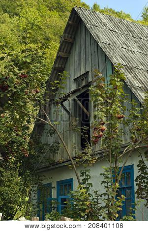 Fragment of the old village house of traditional architecture in the overgrown garden