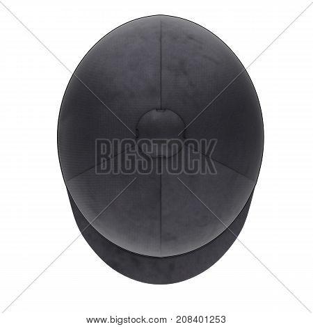 Classic Jockey helmet for horseriding athlete. Top view. Velvet material. 3D render Illustration isolated on a white background.