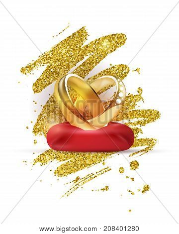 Shiny golden engagement rings with diamonds on a red cushion vector illustration. Wedding card template with golden paint texture.