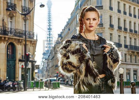 Portrait Of Modern Woman In Fur Coat In Paris, France