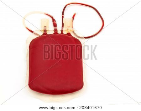 Close up back side bag of blood and plasma group A and rubber tube on white background