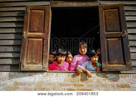 Burmese Children Playing At The Village