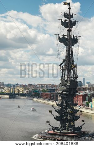 MOSCOW, RUSSIA - JUNE 07, 2017: Monument to Peter the Great in Moscow. The monument to Peter the Great in Moscow was built in 1997.