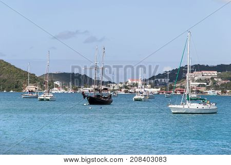 The view of yachts drifting in Long Bay with Charlotte Amalie town in a background