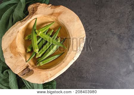 Lady Fingers Or Okra. Dark Background. , Space For Text