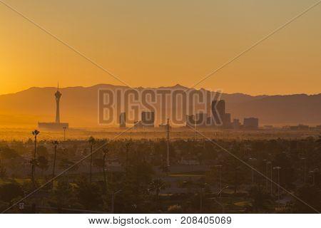 Las Vegas, Nevada, USA - October 10, 2017:  Hazy morning sunrise view of towers on the Las Vegas strip.