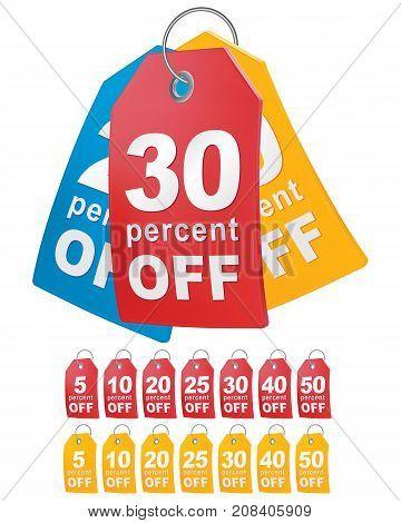 Percent off shopping tag. 3d vector illustration