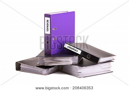 Folders with documents on a white background. Accounting statements in documents