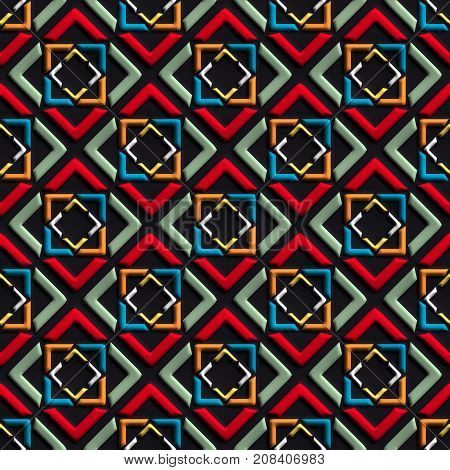 3D render of plastic background tile with embossed abstract multiple squares ornament