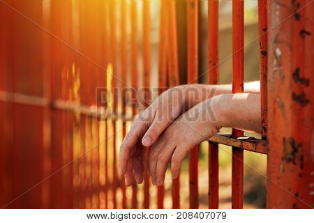 Female hands behind prison yard bars incarcerated captivated person in jail