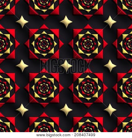 3D render of plastic background tile with embossed abstract star ornament