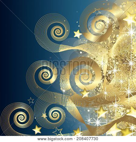 Fairy Blue And Gold Background