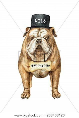Watercolor English bulldog with black cylinder hat isolated on white background. Chinese New Year of the Dog.