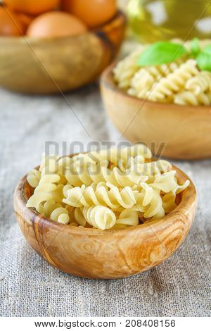 Helix- Or Corkscrew-shaped Pasta. Rotini Macaroni. Related To Fusilli, But Has A Tighter Helix, I.e.