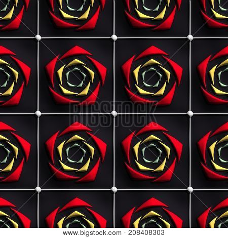 3D render of plastic background tile with embossed abstract rose ornament