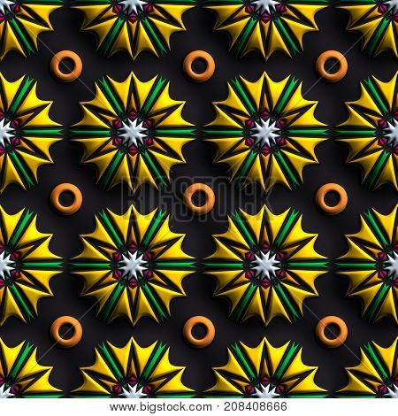 3D render of plastic background tile with embossed sunflower ornament