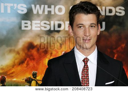 Miles Teller at the Los Angeles premiere of 'Only The Brave' held at the Regency Village Theatre in Westwood, USA on October 8, 2017.