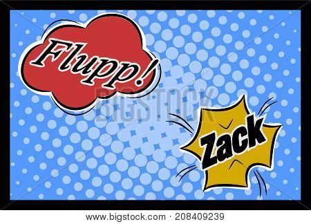 Comic speech bubbles with flupp and zack using as background