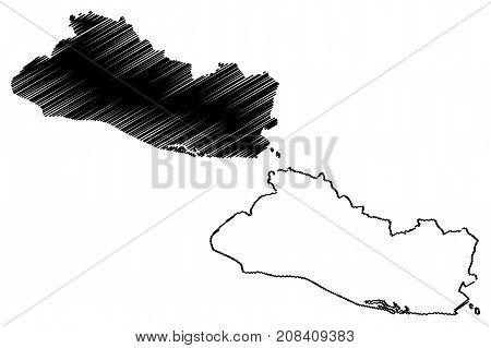 El Salvador map vector illustration , scribble sketch El Salvador